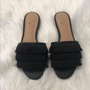 Trina Turk Maira 2 slide sandals black fringe 6.5.